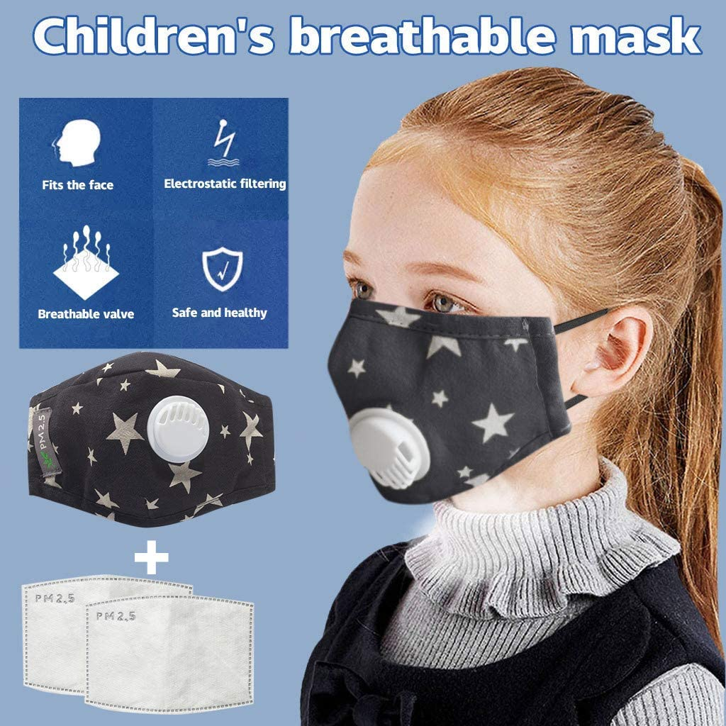 Kids Reusable Face Masks With Breathing Valve