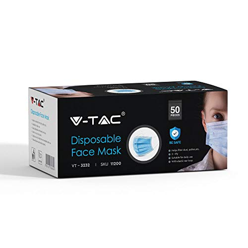 V TAC Face Masks with Ear Loop Disposable Type Medical Non Woven 3 Layer Internal Point 50 Pieces Per Box UK Stocks Available